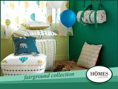 A thoughtful composition of interactive motifs and attractive patterns in soft yet bright and playful colours. Explore more at www.homesfurnishings.com #HomeDecor #HomeFabrics #Cushions #Curtains #Upholstery #KidsCollection