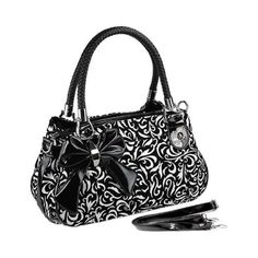 TWEED Black White Floral w/Bow Satchel Bowler Hobo Handbag Purse Weave Double Handles found on Polyvore