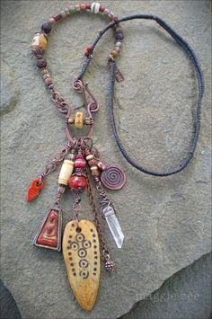 Moon Goddess Shaman Amulet Necklace by maggiezees on Etsy