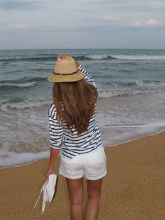 perfect beach attire @Nordstrom #stripedshirt #whiteshorts #superga @Brent Hannah Republic hat
