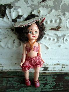 """VINTAGE 1950s Hard Plastic Walker Doll 8"""" bathing suit, hat, shoe Burnette by Holliezhobbiez on Etsy"""