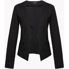 Clean Crop Blazer ($355) ❤ liked on Polyvore featuring outerwear, jackets, blazers, cropped blazer jacket, cropped blazer, open front blazer, stretch blazer and open front jacket
