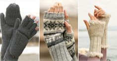6 free patterns and French of fingerless mittens to make for the knit and crochet! Rowan Knitting, Arm Knitting, Crochet Mittens, Crochet Hats, Crochet Christmas Hats, Fair Isle Knitting Patterns, Fingerless Mitts, Knitting Magazine, Wrist Warmers