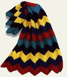 Free Crochet Pattern 870 Crayon Ripple Throw / Blanket : Lion Brand Yarn Company