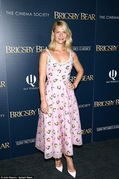Pretty in pink: Claire was spotted at the recent premiere of Brigsby Bear wearing a beautiful pink midi dress, which nipped her in at her tiny waist