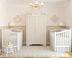 Appealing House Wall Decoration with Best Pattern Design: Small Beauty Nursery Room Twin Crib Digitally Printed Patterns