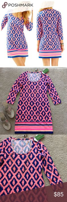 """Lilly Pulitzer Beacon Dress Little Fish Chase Lilly Pulitzer Beacon Dress Little Fish Chase in Bomber Blue. Super cute, super fun for the summer💜 3/4 sleeves. Rounded neckline. Laying flat approx 33.5"""" shoulder to hem, approx 16.5"""" pit to pit. 100% Pima cotton. Size XS. NWT, never worn. #843 Lilly Pulitzer Dresses Mini"""
