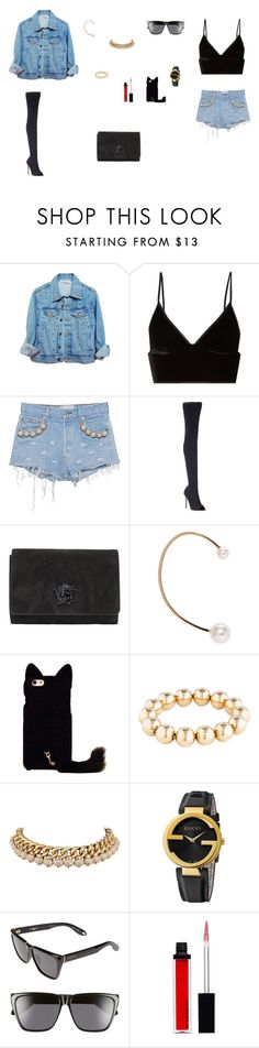 """""""Look do Dia"""" by julianaf121 ❤ liked on Polyvore featuring High Heels Suicide, T By Alexander Wang, Forte Couture, Gianvito Rossi, Versace, Chloé, Bulgari, Gucci and Givenchy"""