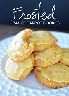 Frosted Orange Carrot Cookies - a favorite cookie that my Mom made for me. It's a cake like cookie with a citrus frosting. Yum!