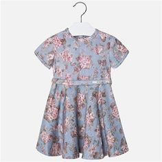 Mayoral Girls Fall Floral Fancy Dress Blue