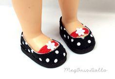 "Black and White Polka Dots Shoes fit 16"" Disney Animator Dolls, Fabric Flip On, Handmade Shoes by MegOrisDolls on Etsy"