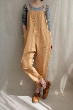Women Leisure Cotton Dungarees Linen Overalls Summer Cotton