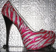 zebra heels with pink rhinestones by STEAMHATTER on Etsy, $115.00