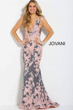 eabdde3022 jovani 59422 evening GREYPINK V Neck Prom Dresses