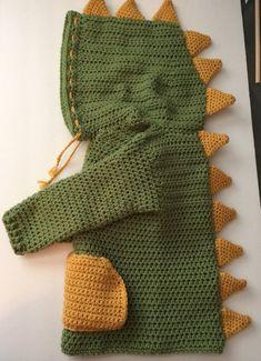 Handmade/crocheted Dinosaur Hooded Sweater - 3T/4T & 5T/6T