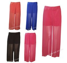 U27 NEW LADIES WIDE LEG ELASTICATED CHIFFON WOMENS PALAZZO TROUSERS IN8,10,12,14