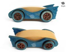 Handmade wood toy, a car inspired to the Batman Car! Toddlers and kids will love it. The piece is composed of one piece of natural fir in the middle, and 2 layers of birch multiplex for the sides, hand painted with a light shade of blue acrylic. Grains still pop out with a nice natural