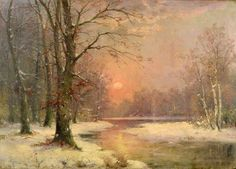 Adolf Kaufmann - Sunset in Winter Landscape