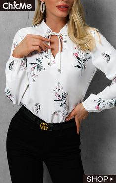 Floral Print Tied Detail Casual Blouse Shop- Women's Best Online Shopping - Offering Huge Discounts on Dresses, Lingerie , Jumpsuits , Swimwear, Tops and More. Floral Print Shirt, Floral Prints, Bodycon Dress With Sleeves, Blouse Dress, Blouse Styles, Pattern Fashion, Blouses For Women, Casual Shirts, Autumn Fashion