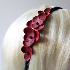 Headband red flowers leather $28.00    I could totally make this for a lot less!