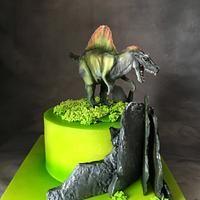 Spinosaurus cake for Daniel. Chocolate cake with blueberries. Spinosaurus, Chocolate Ganache, Blueberries, Fondant, Cake Decorating, Plants, Berry, Blueberry, Plant
