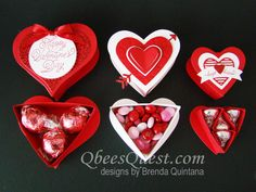 Sweet & Sassy Heart Boxes | Tutorial, Sweet & Sassy Framelits, Simply Scored, Hershey's Kisses, Sealed with Love Stamp Set, Love Notes Framelits, Layering Circles Framelits, Sending Love DSP, Stampin' Up, Qbee's Quest, Brenda Quintana