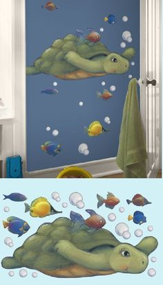 Sea Turtle Peel and Stick Wall Mural - Wall Sticker Outlet