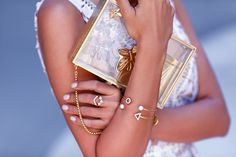 VivaLuxury - Fashion Blog by Annabelle Fleur: LAVENDER LACE - SELF PORTRAIT Guipure lace dress   SAINT LAURENT Jane sandals   THALE BLANC Flutter of Hope clutch   VIVALUXURY x MEJURI White Velvet ring, White Velvet crawlers, White Velvet arrow bracelet & White Velvet bracelet June 16, 2015