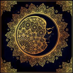 Intricate ornate bohemian crescent moon with stars and mandala. Vector illustration. Art of tattooing, astrology, spirituality, alchemy, magic symbol. Ethnic, tribal, mystic element to use. Photo
