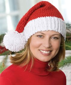 Spread the holiday cheer with this Holiday Santa Hat. Christmas crochet patterns are so much fun to make, especially since they really put you in a cheery mood. All Free Crochet, Knit Crochet, Crochet Hats, Crotchet, Crochet Santa Hat, Handmade Decorations, Christmas Decorations, Christmas Crochet Patterns, Crochet Projects