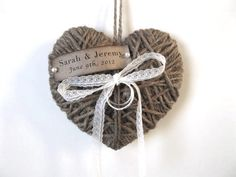 Wedding Ring Pillow/Holder - heartstrings - personalized name/date - reuse as Christmas ornament - wedding decor- in Weddings Unveiled 2013. $16.00, via Etsy.