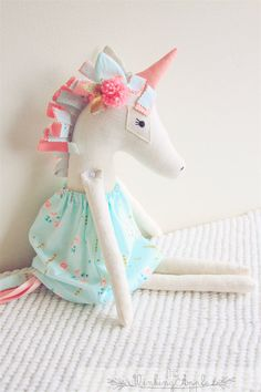 Unicorn Doll by TheWinkingApple on Etsy Fabric Toys, Fabric Crafts, Sewing Crafts, Sewing Projects, Softies, Plushies, Baby Toys, Kids Toys, Unicorn Doll