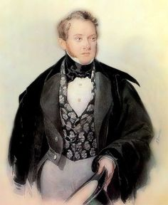 Self Portrait by Alexander Pavlovich Brullov (Russian 1798-1877)....beautiful silver and black brocade waistcoat...this artist, along with his brother, a fellow painter, have several different spellings for their surname - Brullov, Briullov, Bryullov, Bruloff etc.