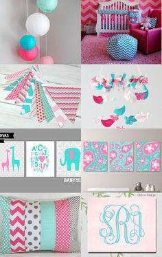 Pink and Teal Girl Chevron Nursery
