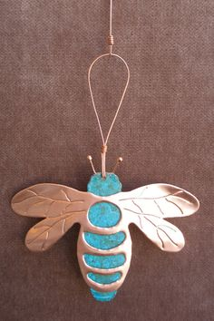 Hey, I found this really awesome Etsy listing at https://www.etsy.com/listing/90827737/bee-bumblebee-copper-verdigris-ornament
