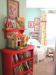 Lt. blue and red are one of my favorite combinations. Kids playroom with vintage decor