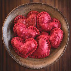 Beet and Chèvre Ravioli Hearts