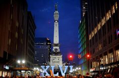 Monument Circle and the Super Bowl 46 installation. Photo by Jeffrey Furticella/AP.