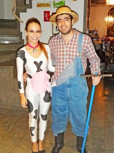 the cow and the farmer. NOT scary at all funny though.  sc 1 st  Pinterest & Farmer and scarecrow costume for Halloween!! | Halloween | Pinterest ...