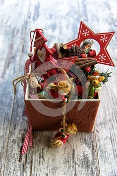 Christmas decoration on wood background