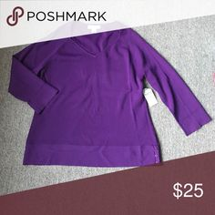 Cold water creek top Cold water creek purple knitted top, 3/4 sleeves Coldwater Creek Tops Blouses