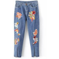 Slit Leg Low Rise Embroidery Jeans (145 RON) ❤ liked on Polyvore featuring jeans, pants, rosegal, low rise jeans, embroidery jeans, embroidered jeans, blue jeans and slit jeans