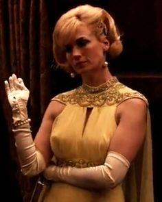Mad Men Costume Designer Janie Bryant on Season 6 Fashion - Episode 9: Betty's Yellow Gown from #InStyle Betty Draper (January Jones) www.MadamPaloozaEmporium.com www.facebook.com/MadamPalooza