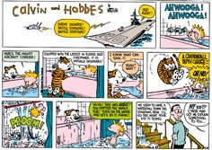 Calvin and Hobbes, November 02, 1986 - Ha Ha! That was GREAT! You emptied the whole tub! Turn on the water and let's do it again!