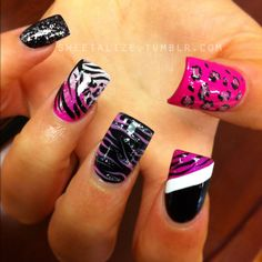 Very colorful cheetah and zebra nails! Hot Nails, Pink Nails, Hair And Nails, Pink Leopard Nails, Fancy Nails, Trendy Nails, Zebra Print Nails, Manicure Y Pedicure, Nagel Gel