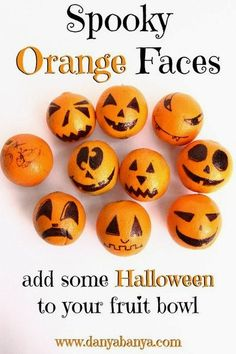 Kids will love these Spooky Orange Faces! An easy, fun and healthy way to add a bit of Halloween to your fruit bowl. ~ Danya Banya