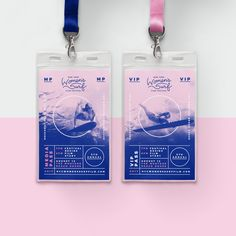 Event Branding Design:The New York Women's Surf Film Festival, a project of Lava Girl Surf, celebrates the filmmakers and female wave riders who live to surf, highlighting their sense of adventure, connection to the ocean and love for their own communiti… Event Branding, Branding Design, Collateral Design, Id Card Design, Badge Design, Conference Branding, Design Conference, Lanyard Designs, Template Web