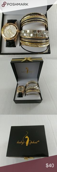 Baby Phat Bling Watch Set Nice bling watch and bracelets new never worn! Baby Phat Accessories Watches