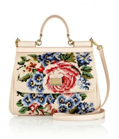 Structured Top-Handle Bags For Work: Dolce & Gabbana 'The Sicily' pink leather top handle bag with floral embroidery, $2600, net-a-porter.com