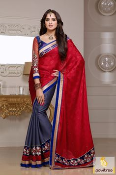 Pavitraa Grey, Red with Blue Party Wear Saree